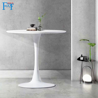 Dining table White paint table on metal base kitchen table round table modern table free delievry for Russia