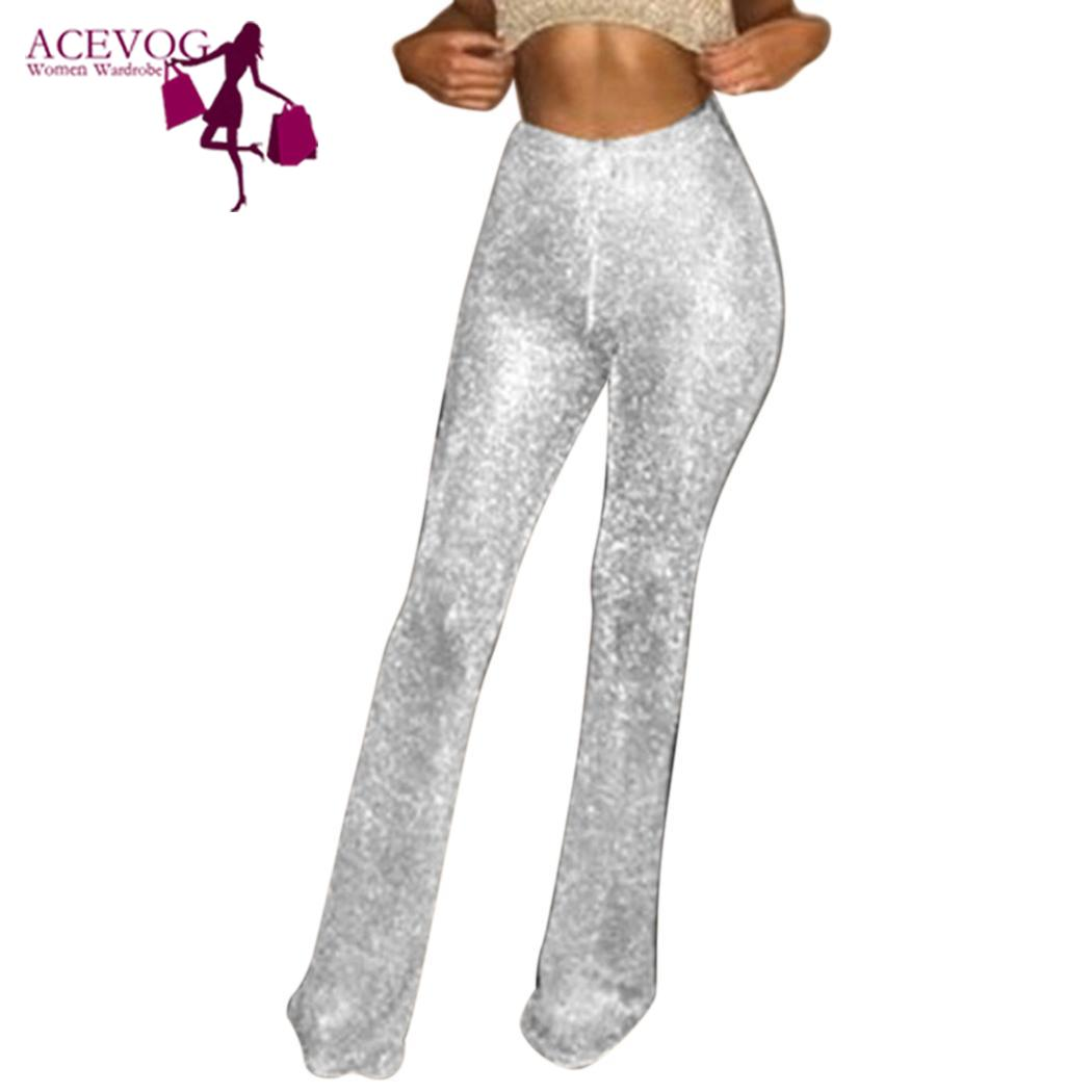 New Fashion Women Casual Glitter High Front Zipper None Solid Full Length Waist Spring, Summer Pants Trousers