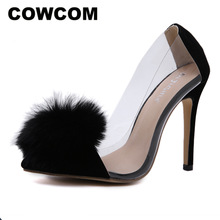 COWCOM  2019 Spring New High Heels  Real Rabbit Plush Face Pointed Sandals Sexy Stiletto Shallow Womens Shoes DF zgA5 36