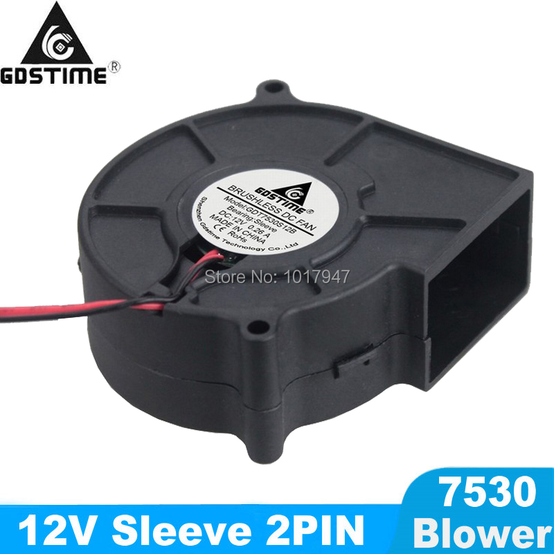 5 Pieces LOT Gdstime DC 12V 2Wire Cooling Brushless Blower Fan 7530 75mm 75x30mm 7530s