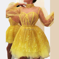 Homecoming Dress Sweetheart Sequined Short Length Full Sleeves Above Knee High Neck Tulle Dress Yellow Club Dress Cocktail Dress