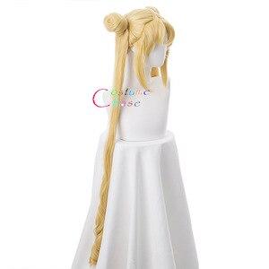 Image 3 - Tsukino Usagi Wig 90cm Long Wavy Sailor Moon Cosplay Costumes Party Halloween Synthetic Hair +Free Wig Cap