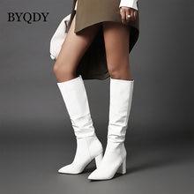 Byqdy/зимние женские ботинки; Высокие красные зимние вечерние