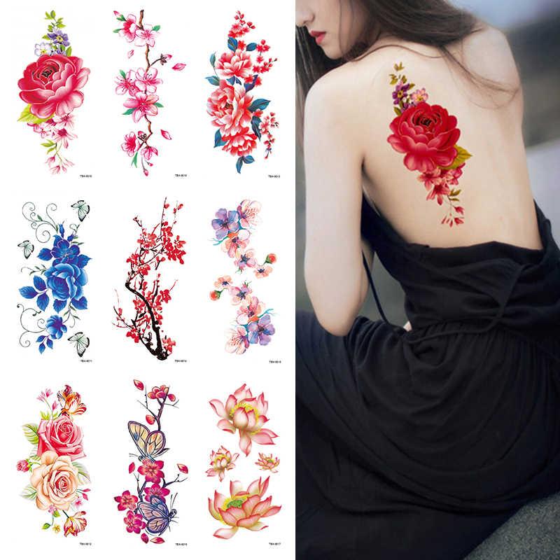 24รูปแบบกันน้ำชั่วคราวสติกเกอร์ดอกไม้Series Water Transferแขนไหล่Hennaผู้หญิงเซ็กซี่Body Art