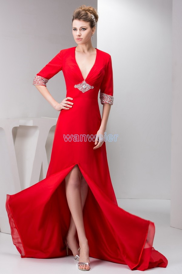 Free Shipping 2016 New Plus Size Floor Length Small Train Formal Beading Long Sleeve V-neck Chffon Red Mother Of The Bride Dress