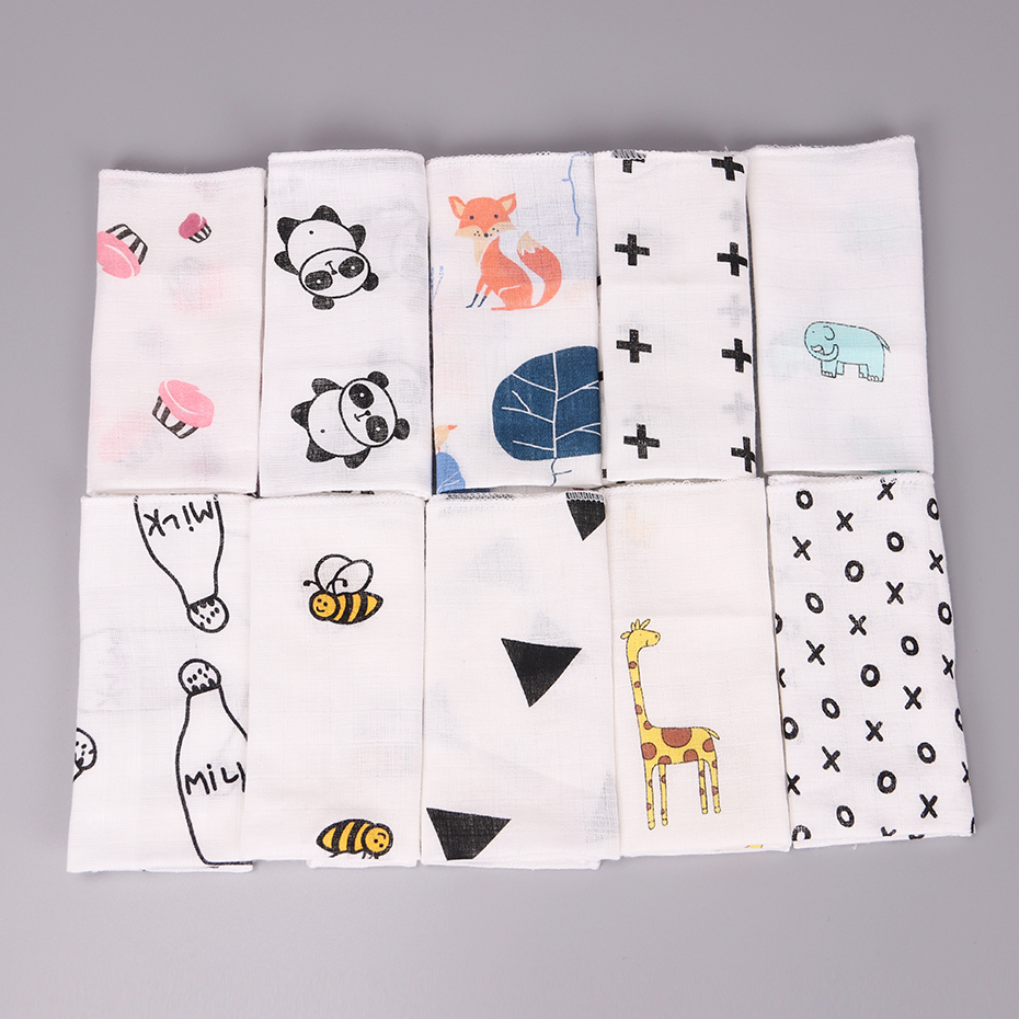 Kids Baby Cartoon Towel Handkerchief Cotton Muslin Towel Handkerchiefs Two Layers Wipe Handkerchiefs 28X28cm 10PCS