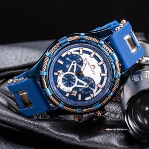Image 4 - ¡Venta al por mayor! Reloj MEGALITH deportivo para hombre, correa de silicona impermeable, cronógrafo, relojes de pulsera de cuarzo, reloj Masculino con caja