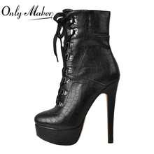 Onlymaker Women16cm Snake Platform Stiletto Ankle Boots for Women Lace Up Side Zipper Black 2019