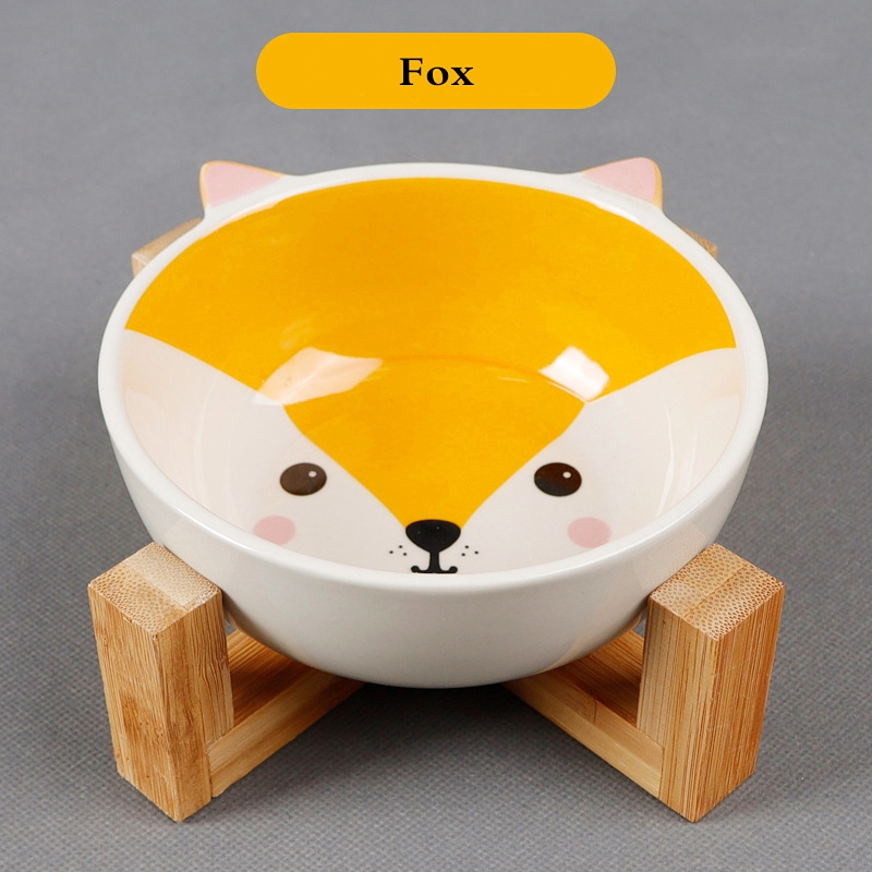 Pets Bowl Dog Cat Food Water Feeder Puppy Ceramic Drinking Dish Bowl With Wooden Rack Pet