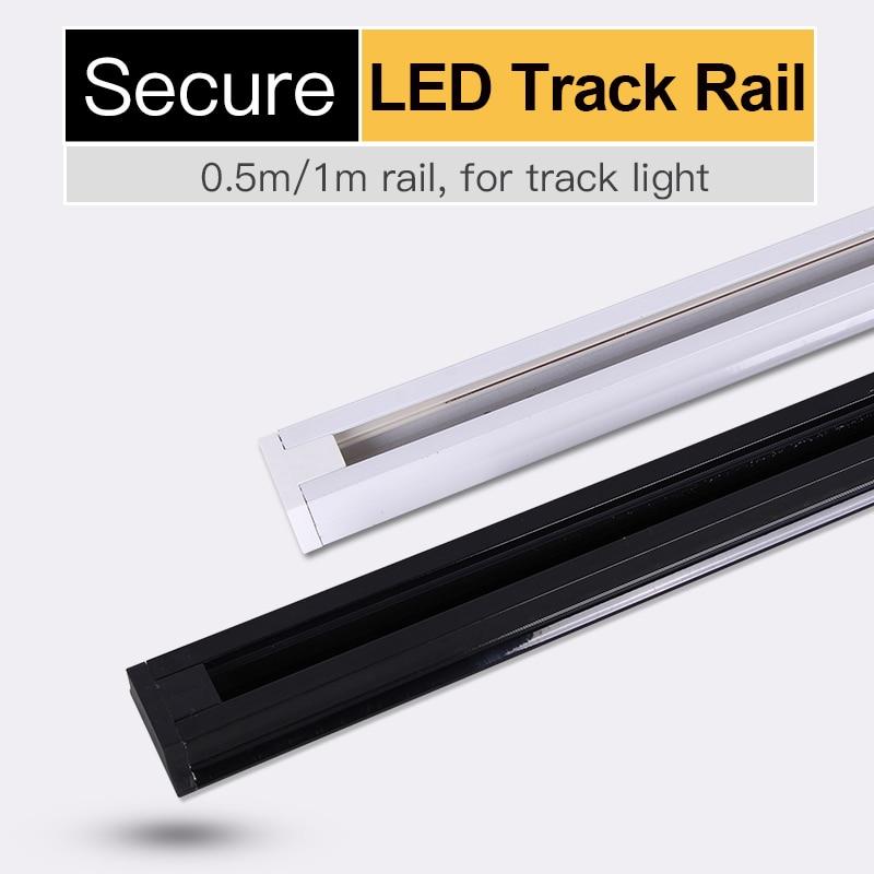 2 Wire 0.5m 1m Track Rail Black White Straight Corner Connectors For Led Light Spotlight Rails Aluminum Fixture