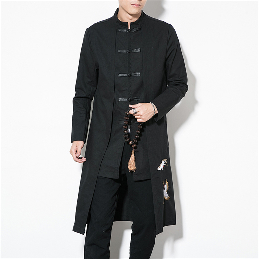 Chinese Style Tops 2019 News Coat Linen Embroidery Crane Casual Long Gown New Year Clothes Traditional Chinese Clothing For Men