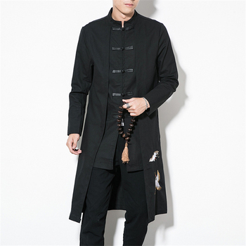 Chinese Style Tops 2020 News Coat Linen Embroidery Crane Casual Long Gown New Year Clothes Traditional Chinese Clothing For Men