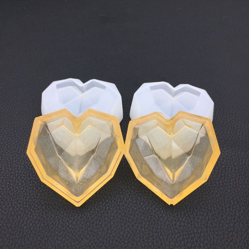 Silicone Mold DIY Epoxy Resin Crafts Heart-shape Storage Box Case Desk Table Decoration Organizer Jewelry Container