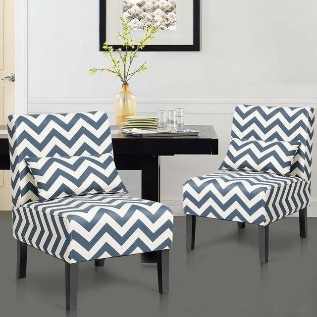 Set of 2 Armless Accent Chairs  3