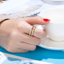 Small Chain And Zircon On Both Sides Ring For Women Fashion Simple Jewelry Ring Stainless