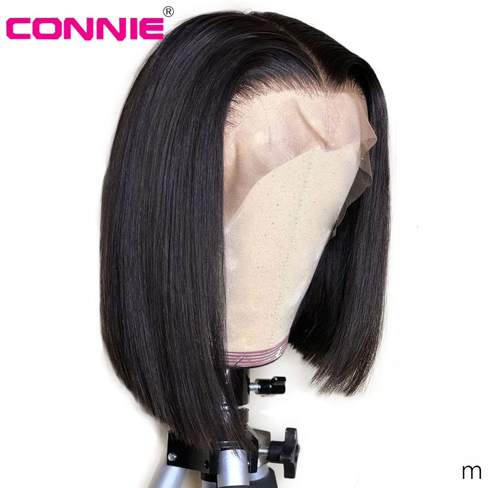 Connie 13X4 Short Lace Front Human Hair Wigs Brazilian Bob Wig With Pre Plucked Hairline For Black Women Remy Hair
