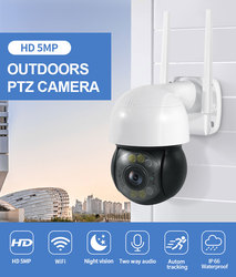 5MP PTZ Wifi IP Camera Outdoor 4X Digital Zoom AI Human Detect H.265 P2P ONVIF Audio Security CCTV Wireless Surveillance Camera