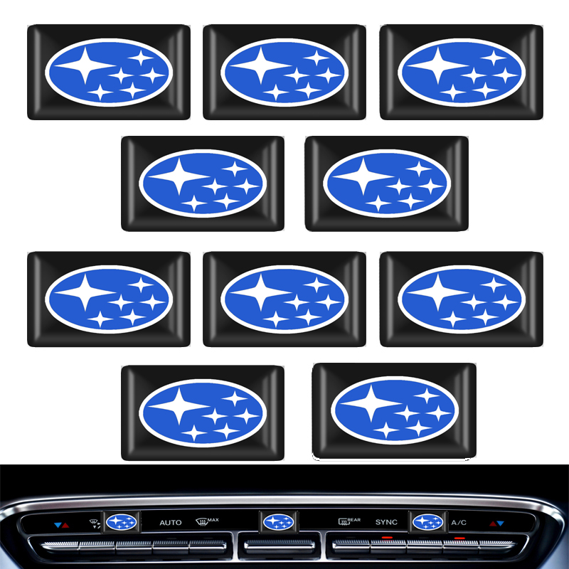 10pcs Steering Wheel 3D Car Sticker Flags Emblem Decal Decorating For Subaru Forest Human Lion XV Impreza WRX WRC STI Accessorie