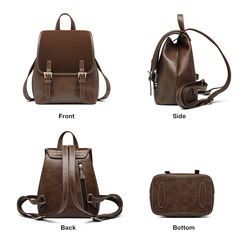 Foxer Willy Cowhide Leather Retro Women Business Backpack