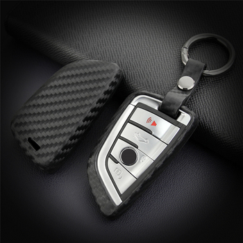 KUKAKEY Car Key Case Cover For BMW X5 F15 X6 F16 G30 7 Series G11 X1 F48 F39 Carbon Fiber Key Bag Holder Fob Shell Keychain image