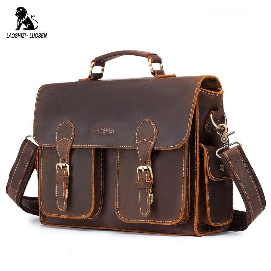 LAOSHIZI LUOSEN Men Briefcase Handbags Business Bag Crazy Horse Genuine Leather Portfolio Men Briefcase Male Laptop Bag Office