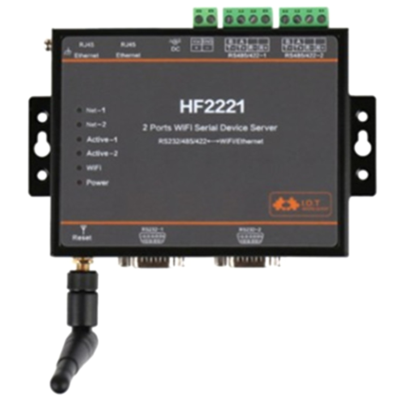 HOT-HF2221 2 Ports Wifi Serial Device Server RS232/RS422/RS485 To Ethernet / Wi-Fi Serial Server F22500(EU Plug)