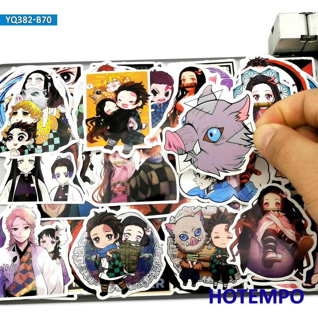 70pcs Japan Anime Demon Slayer Kimetsu No Yaiba Stickers Toys For Mobile Phone Laptop Suitcase Skateboard Cartoon Decal Stickers