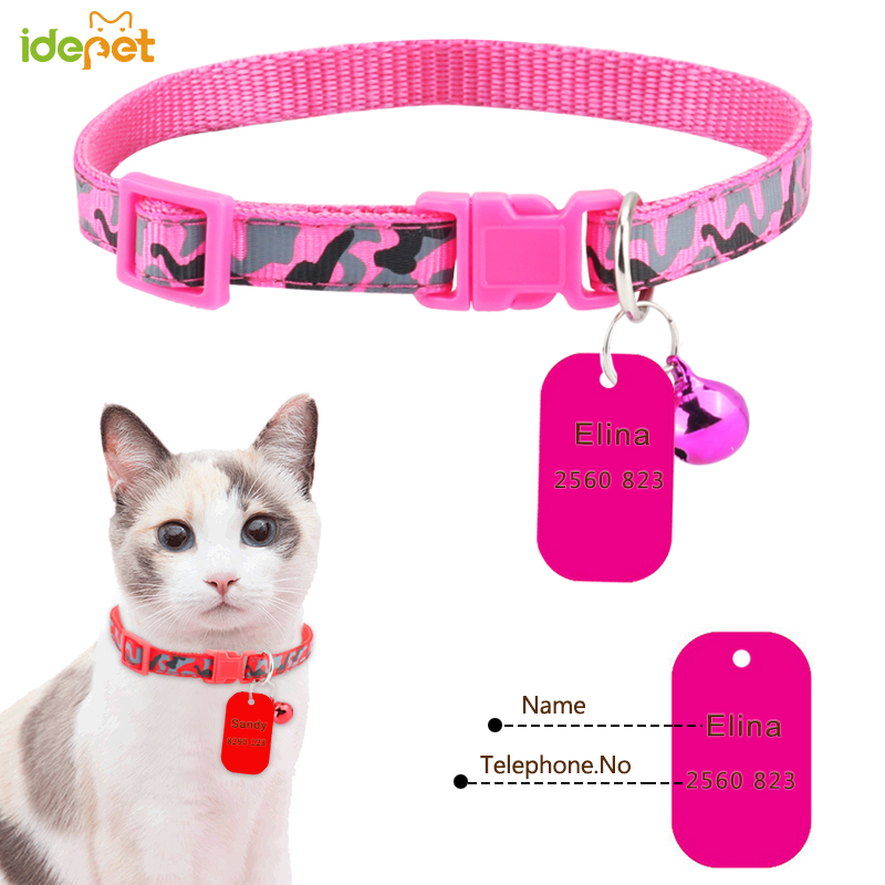 Reflective Customized Cats Collars Harnesses Cat Sheet Personalized Dogs ID Tag Cats Collar Dog Name Phone Pet Product 30 image