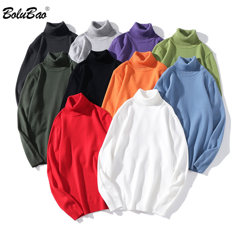 BOLUBAO Men Solid Color Sweaters Autumn Winter Men's Turtleneck Pullovers Male Slim Fit  Knitting Sweater Brand Clothing