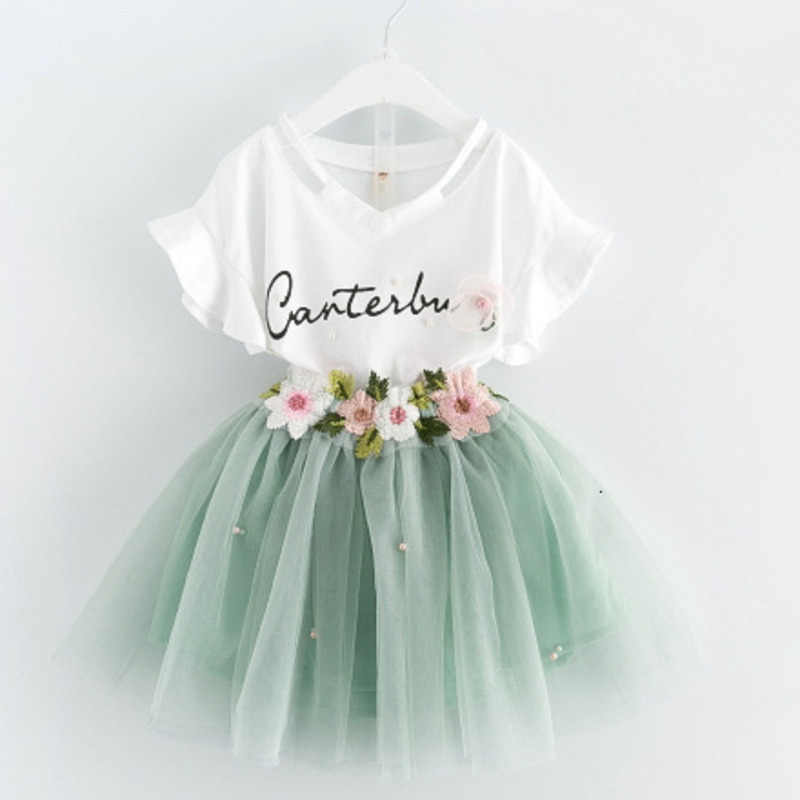 Meisjes Bloem Set Kinderkleding Pak Korte Mouw T-shirt Shorts 2 Stuk Set Prinses Bladerdeeg Rok Set