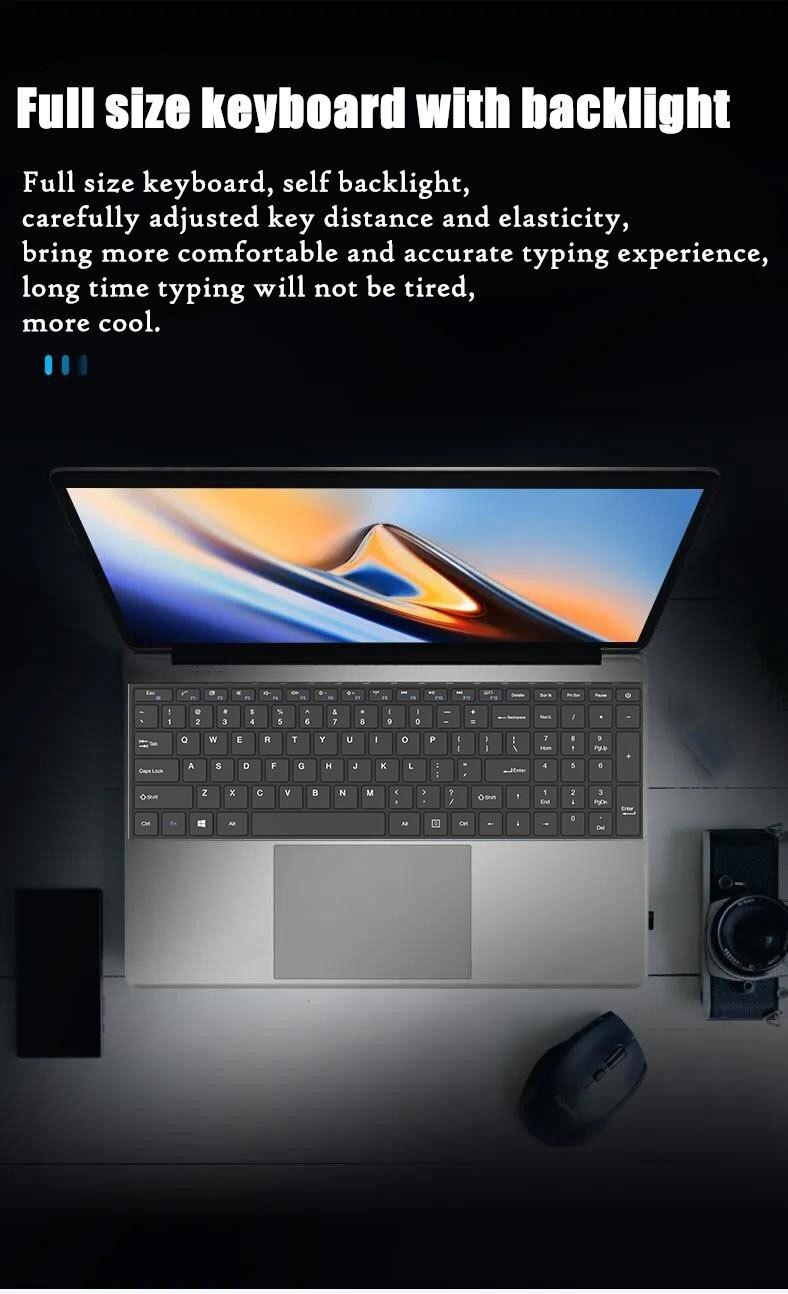 15.6 inch 12G RAM 1TB 512GB 256GB 128GB SSD ROM With Backlit Keyboard IPS 1920*1080 Screen Laptop