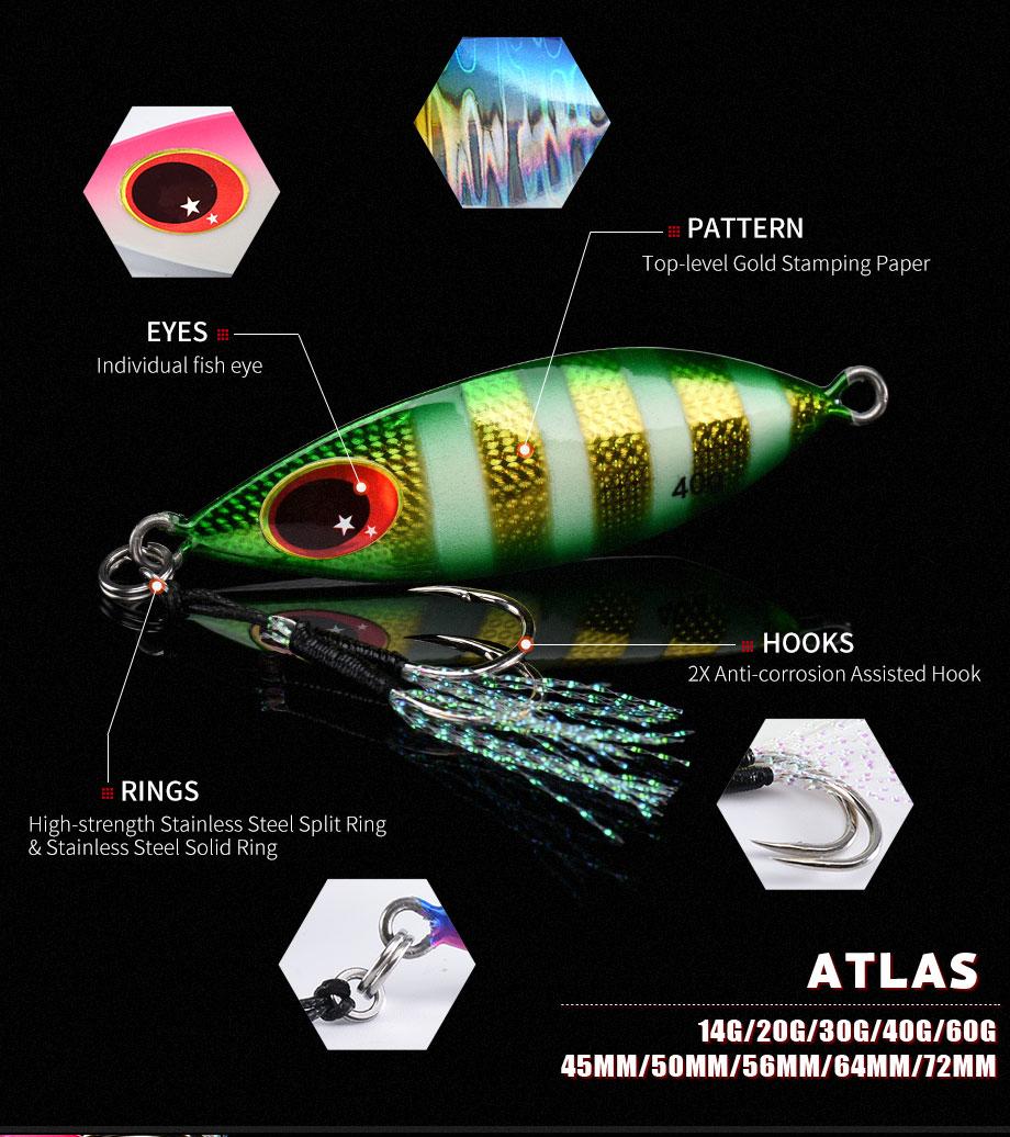 5x Fishing fish Lure Jigbait spoon Treble Hook Spinner baits 40g 60g 80g 100g