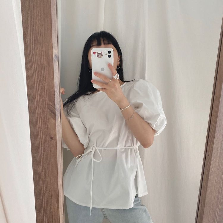 Hc5f0673631be49a1a2de3dfc016b8b2fX - Summer O-Neck Short Puff Sleeves Cotton Lace-Up Solid Blouse