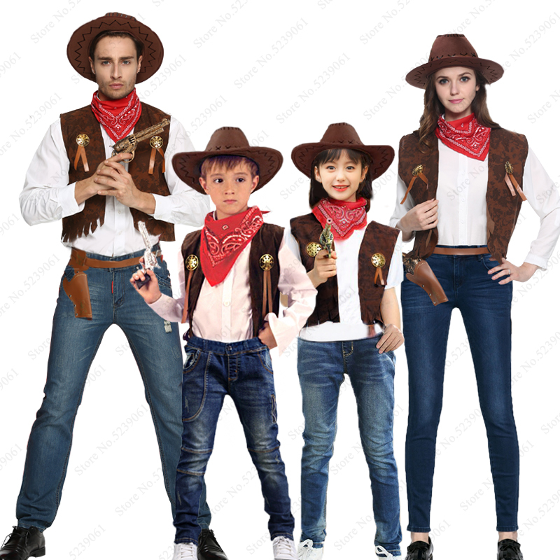 Children Adult Cowboy Cosplay Fancy Costumes Halloween Party Masquerade Men Wild West Fancy Cowgirl Vest Caps Hat Scarf Outfits