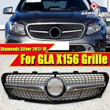 X156 Diamond Grille ABS Silver without Sign Front Grills For MercedesMB GLA X156 GLA180 GLA200 GLA250 GLA45 Look Grills 2017-18 for mercedes benz gla x156 front grille silver abs gla45 amg gla180 gla200 gla250 without central logo front racing grille 14 16