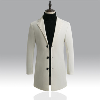 Autumn Winter Mens Brand Fleece blends Jacket Male Overcoat Casual Solid Slim collar coats Long cotton trench coat Streetwear 1
