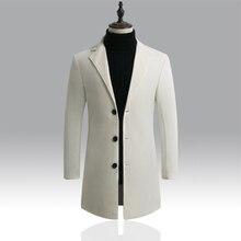 Autumn Winter Mens Brand Fleece blends Jacket Male Overcoat Casual Solid Slim collar coats