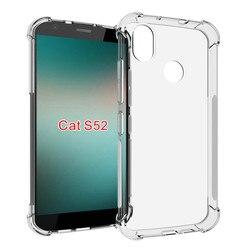 Antiderrapante à prova de choque caso amortecedor para caterpillar cat s52 s 52 cristal transparente silicone caso para cat s52 capa traseira 5.65 polegada