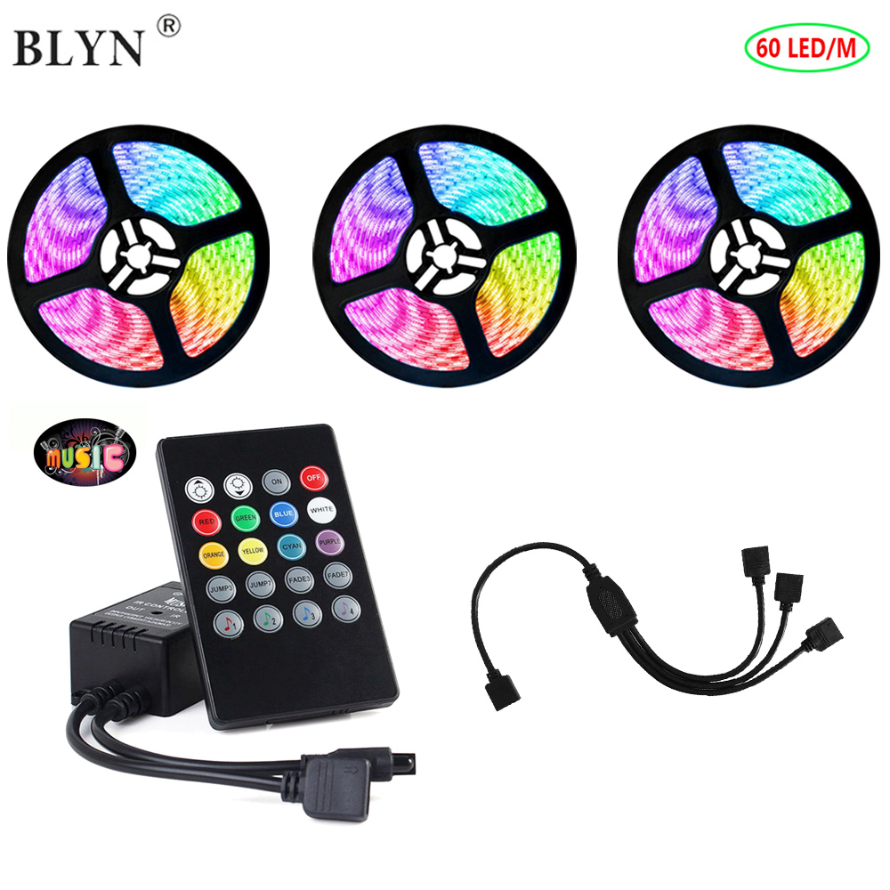 Music Sync Light LED RGB Strip 5050 RGB 60LED/M 5M 10M 15M Kit With Remote Controller Sound Control For Party Home Decoration