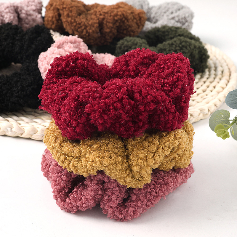 Winter Lamb Velvet Scrunchies Lovely Hair Accessories Candy Color Faux Fur Elastic Hair Bands Women Girls Korean Ponytail Holder