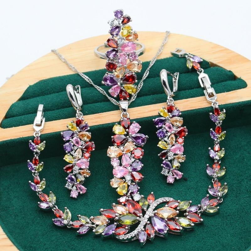 New Multicolour Purple Topaz 925 Silver Jewelry Set For Women Bracelet Earrings Necklace pendant Ring Birthday Gift 4PCS