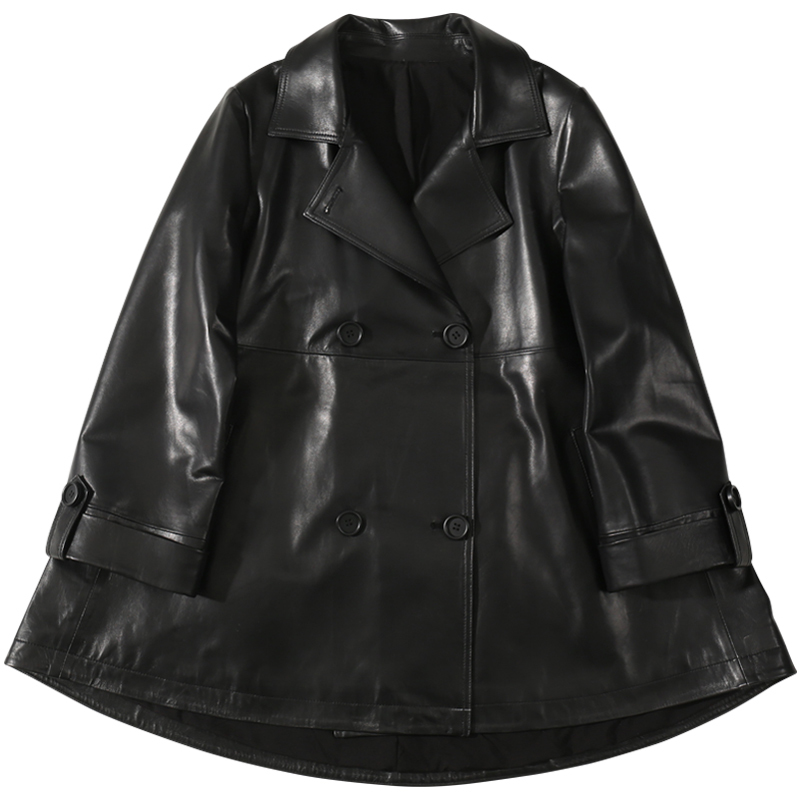 Autumn  Women Sheepskin Jacket  Genuine Korean Version Of The Double-breasted Leather  Jacket