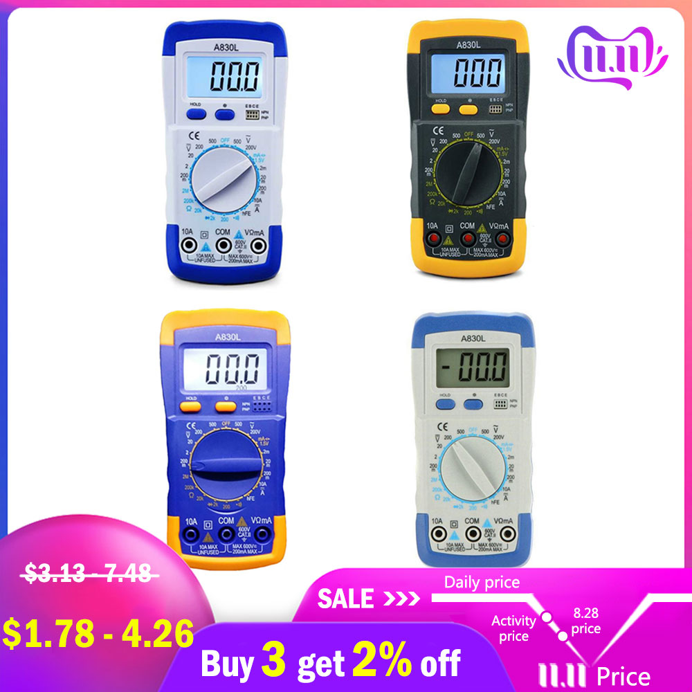 A830L LCD Digital Multimeter AC DC Voltage Diode Freguency Handheld Multitester Current Tester Luminous Display Buzzer Functions-in Multimeters from Tools