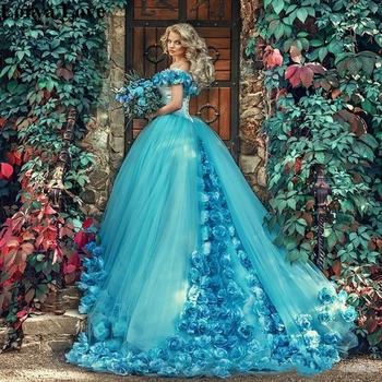2020 Light Blue Off Shoulder Quinceanera Dresses Ball Gown Tulle 15 Anos Flowers Fluffy Dresses Sweet 18 Vestidos Prom Dress