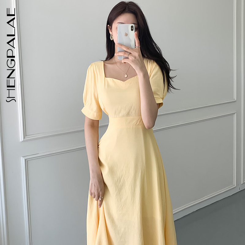 SHENGPALAE 2020 Summer New Women Elegant Long Robe Square Collar Slim Waistband Bow Tie Short Sleeve Yellow Dresses QV1000