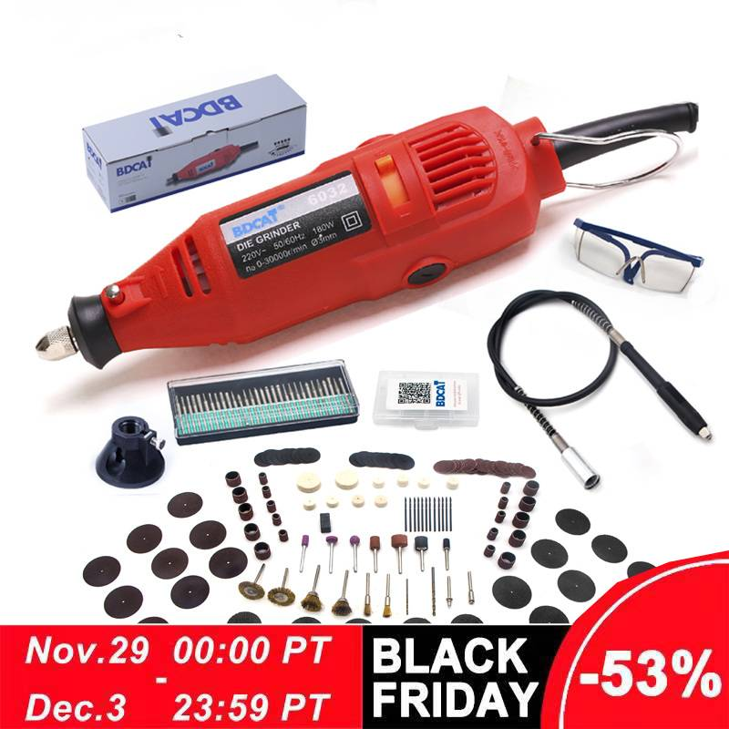 BDCAT 180w Engraving Electric Dremel Rotary Tool Variable Speed Mini Drill Grinding Machine with 180pcs Power Tools accessories-in Electric Drills from Tools on