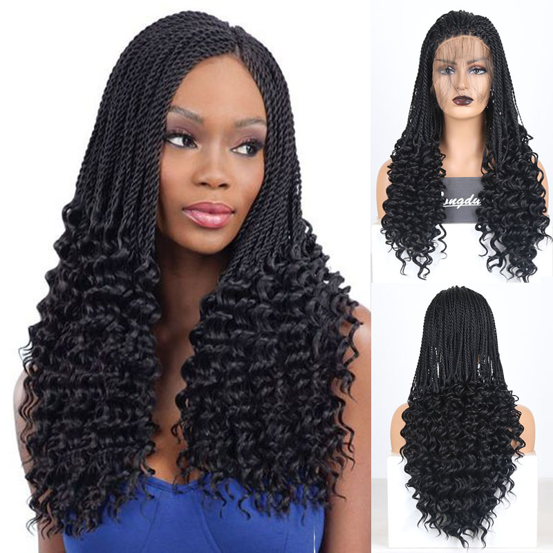 RONGDUOYI Long 2X Twist Braided Synthetic Lace Front Wig Black Color Fiber Hair Lace Wigs For Women Free Part Braids Wig