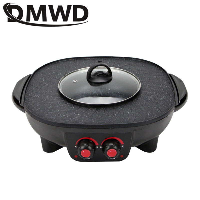 DMWD Electric Grills Smokeless Barbecue BBQ Machine Household Baking Tray Home Roasted Korean Multi-function Indoor Hot Pot EU