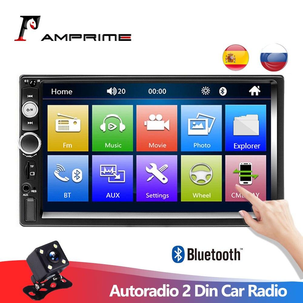 """AMPrime Autoradio 2 Din Autoradio 7 """"écran tactile Dash MP5 Bluetooth USB voiture numérique 2Din lecteur multimédia caméra de recul"""