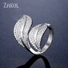 ZAKOL New Arrivals Trendy Cubic Zirconia Leaves Adjustable Rings for Women Wedding Dinner Party Birthday Gift Jewelry FSRP2123